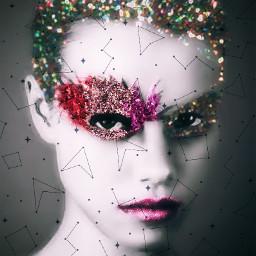 glittermakeup blackandwhite blackandwhitephoto shapemaskeffect smartblureffect