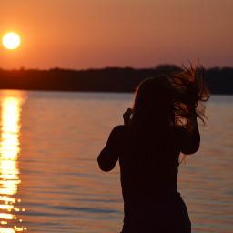 dpcsummerhairstyle freetoedit sunset orange girl