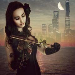 remixed music moon night buildings freetoedit