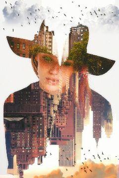 womanportrait doubleexposure upsidedown surreal surrealist freetoedit