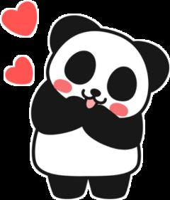 panda corazon rojo negro blanco
