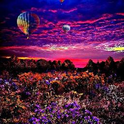 freetoedit hotairballoon art scenery colourfulsky