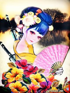 geisha flowers sword nature emotions freetoedit
