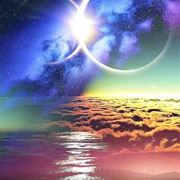 rainbow eclipse threephotoslayered cool colorful fantasy