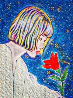 freetoedit beautiful girl thinking flower