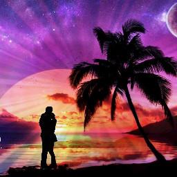 freetoedit sunset beachview magical couple