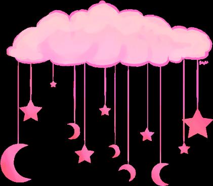 #nube #rosada #luna #estrellas #pink