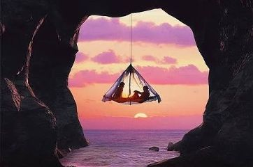 sunset freetoedit tent hanging cave