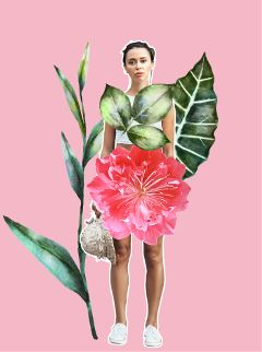 fashion girl collage flowers flora