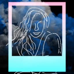 freetoedit polaroidframe pastel sketched girl