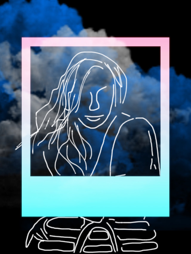 #freetoedit #polaroidframe #pastel #sketched #girl #smoke