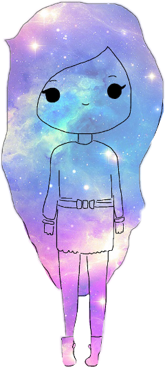 girl galaxy sketched freetoedit