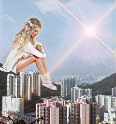 hongkong freetoedit girl skyscraper lensflare