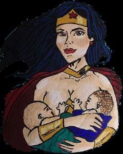 breastfeeding mom wonderwoman freetoedit