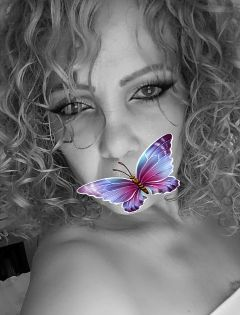 freetoedit myedit black butterfly curlyhair