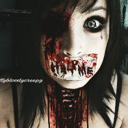 freetoedit girl scared bloody blood