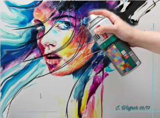 freetoedit woman portrait painting spray