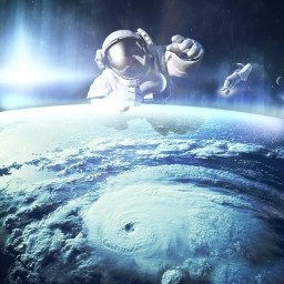 freetoedit space astronaut earth planet