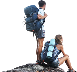 ftestickers couple hikers hiking freetoedit