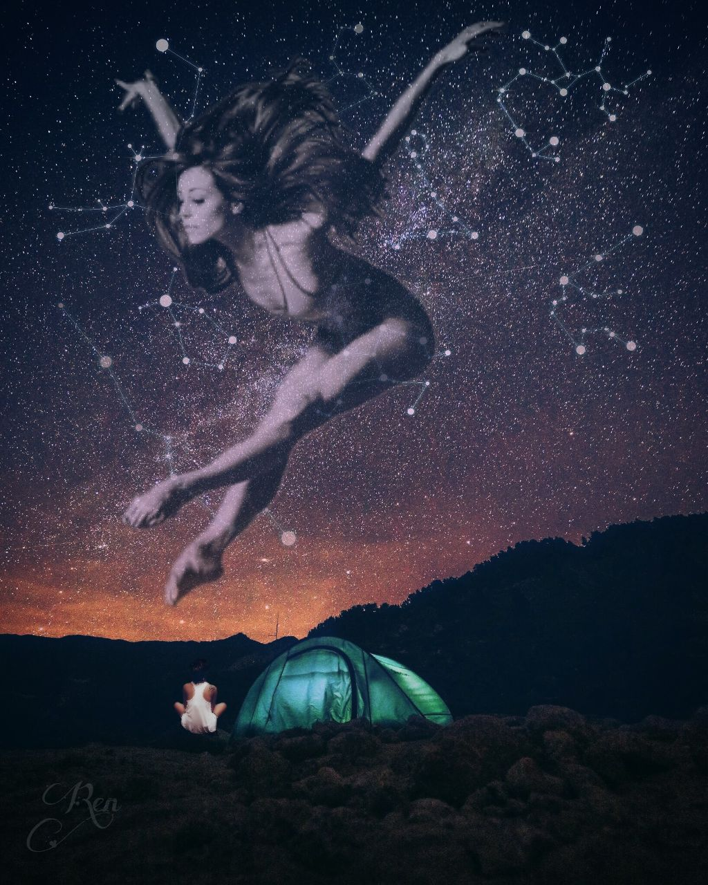 She's dancing with the stars 💙   #milkyway #constellations #starry #girl #camping #dancer #dancing #clipart @seyyahh