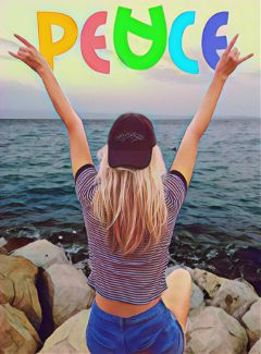 peacedaystickerremix freetoedit peace ocean woman