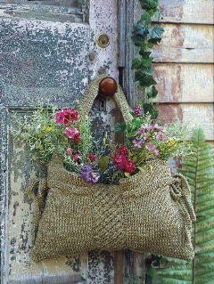 door vintage flower bag grass