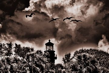 landscape clouds lighthouse blackandwhite