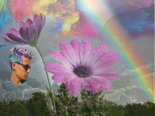 freetoedit rain rainbow flower handsomeboy