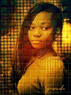freetoedit woman vibrant mosaic squares