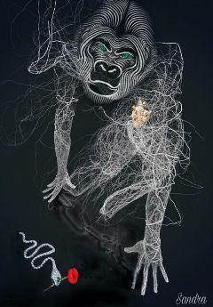 monkey serpent rose heart emerald freetoedit