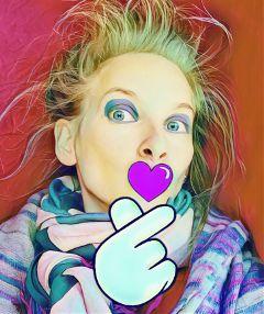fingerheartremix freetoedit heart love crazy