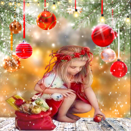 freetoedit christmas littlegirl baubles lights