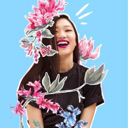 asiangirl girl flowers watercolour fun freetoedit