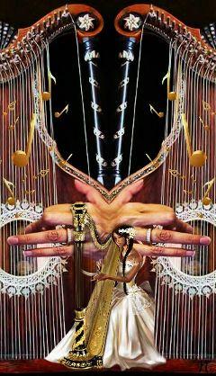 freetoedit music harp woman musician