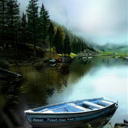 wdplakesandponds thankyoupicsart digitalpainting thankyoupicsartfriends digitaldrawing madewithpicsart ortoneffects landscape boat