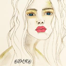 wip artinprogress art drawing painting portrait watercolor gouache ink watercolorpainting woman face features artist danalakat artwork2017