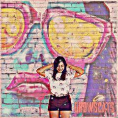 smileremix freetoedit graffiti girl doublexposure