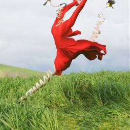 freetoedit remixit woman birds reddress