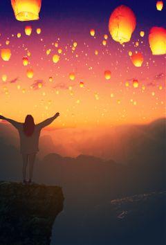 freetoedit sky lantern sunset remix