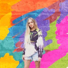 megshooks girl blonde background colourful freetoedit