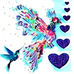 freetoedit birds hearts colorful lovepicsart