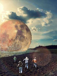 freetoedit remixit moon kids lights ftestickers