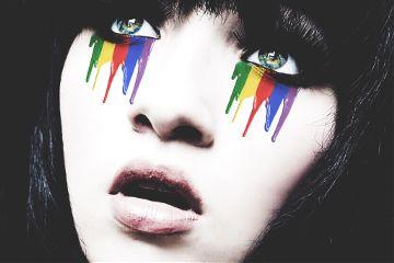 girl color rainbow tears pain freetoedit