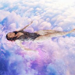 freetoedit doubleexposure surreal clouds swimming