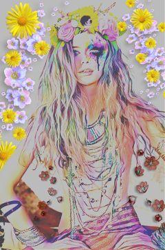hippiespirit freetoedit rainbow flower flowerpower