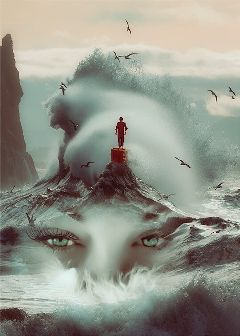 ocean wave face surreal surrealist freetoedit