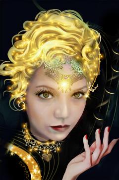 freetoedit goddess gold sparkles edit