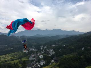 fabricstickerremix freetoedit parachuting mountains