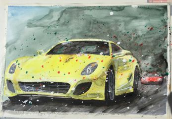 freetoedit watercolor ferrari