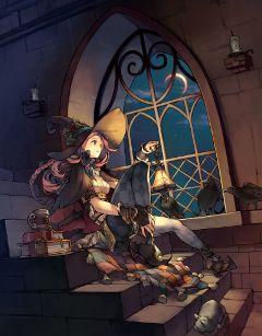 animegirl alone scenery castle night